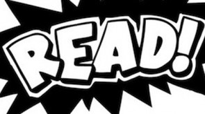 Black, jagged speech bubble with the word READ! in it